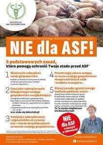 """Plakat informacyjny w ramach kampanii informacyjnej """"Nie dla ASF! 5 podstawowych zasad, które pomogą uchronić Twoje stado przed ASF"""