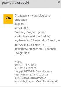 ostrzeżenie 22.10.2021